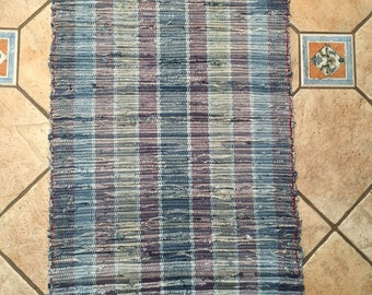 Striped Handwoven rug made from old denim jeans