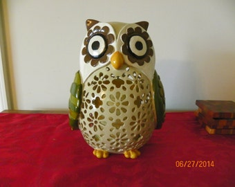 Large Vintage Whimsical Owl With Flameless Battery Operated Candle
