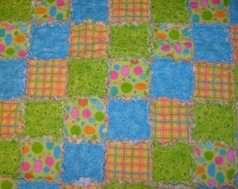 Beautiful Flannel Baby Rag Quilt in hues of Blue, Green, Yellow, and Pink