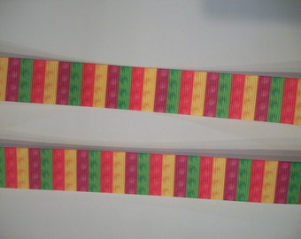 "Stacked Building Block grosgrain ribbon 7/8"" 1 to 5 yards"