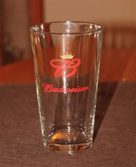 Vintage BUDWEISER Crown Emblem Beer Glass