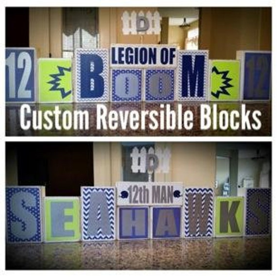 seattle seahawks legion of boom 12th man home decor custom reversible wooden block set