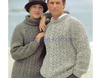 womens mens chunky sweaters knitting pattern 99p pdf