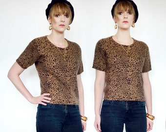 Rockabilly leopard print angora vintage top.