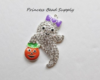 Ghost with Pumpkin Rhinestone pendant for Chunky Necklaces, Halloween Ghost Pendant,  45mm Pendant, Chunky Necklace Pendant,