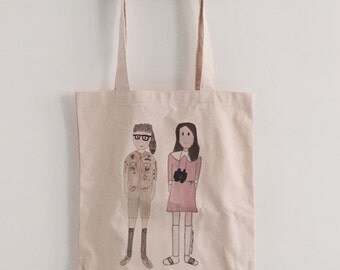 Sam and Suzy from Moonrise Kingdom - Wes Anderson - totebag - illustrated