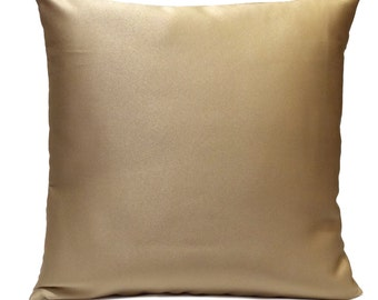 Light Goldish Tan Pillow, Throw Pillow Cover, Decorative Pillow Cover, Cushion Cover, Pillowcase, Accent Pillow, Toss Pillow, Satin Blend.