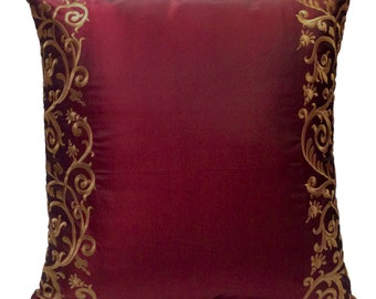 Burgundy Pillow, Throw Pillow Cover, Decorative Pillow Cover, Cushion Cover, Pillowcase, Accent Pillow, Modern, Silk Blend, Tan Embroidery
