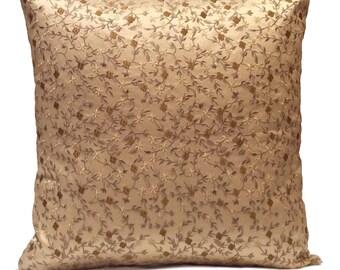 Beige, Light Gold Pillow, Throw Pillow Cover, Decorative Pillow Cover, Cushion Cover, Pillowcase, Accent Pillow, Silk, Floral Embroidery