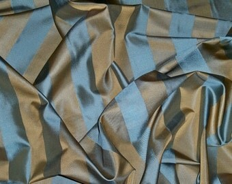 STROHEIM & ROMANN SUMTER Silk Satin Stripe Fabric 10 Yards Pacific Blue / Bronze Gold