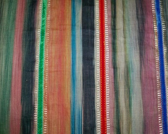 LEE JOFA KRAVET Bohemian Stripes Ethnic Chic Embroidered Fabric 10 Yards Multi Indigo Ruby Jade Persimmons