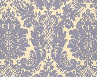 SCHUMACHER LOTUS MEDALLIONS Woven Damask Fabric 10 yards Blue