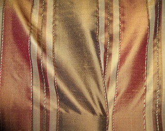 TAPESTRIA MONTEL Stripes SILK Damask Fabric 10 yards Chocolate Cinnamon Beige