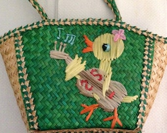 Childs Straw Purse Raffia Duck