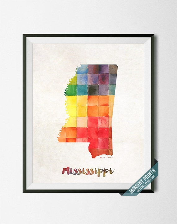 Mississippi Map Print Jackson Usa Poster By Momentprints
