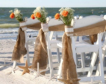 Burlap chair sash- Stitched  edges - Rustic Wedding