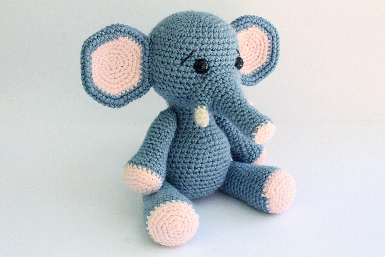 Beginner Knitting Patterns Stuffed Animals : PATTERN : Elephant -Amigurumi Elephant pattern-Crochet pattern-Knitted - Stuf...