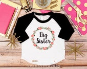 Big Sister Shirt; Baby Announcement Shirt; Country Floral Wreath; Sibling Shirt; New Baby Announcement Shirt; Big Sister Announcement Shirt