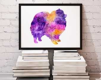 pomeranian - Digital Download Print - Wall Art - Archival Print - Dog Prints - Pomeranian Poster - Small Dogs Prints