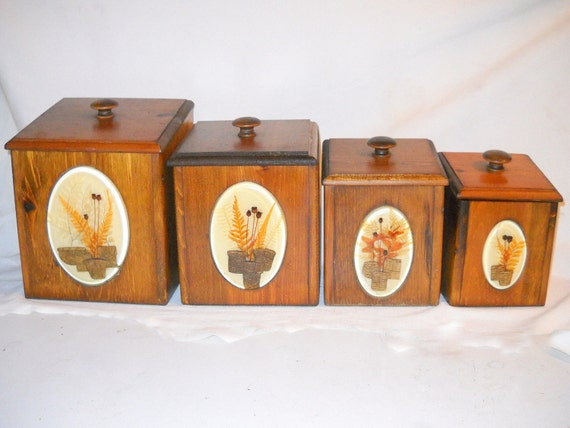 vintage kitchen canisters wood canister set 1970 s