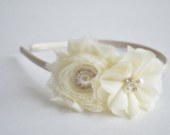 Ivory Headband, Toddler Headband, Ivory Girls Headband, Flower Girls Headband, First Birthday