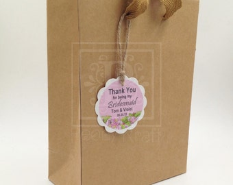 Set of 6,10, 12 or  25  Wedding Gift Bags With Personalized Tags, Bridal Party Gift Bags, Birthday and Babyshower Gift Bags