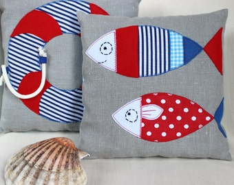 Nautical Linen Applique Cushion, Seaside Pillow, Nautical Baby Shower Gift, Nursery, Nautical Baby Gift, Fish Decor, Red and Blue