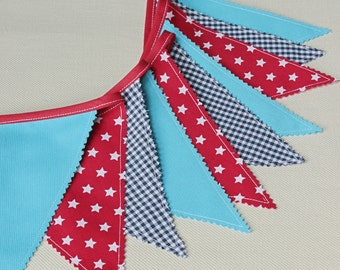 Fabric Banner, Baby Bunting Flags, Navy Bleu, Red, Nautical Nursery, Pennant, Boy Baby Shower, Turquoise Red
