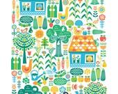 "Art Print Poster ""Cottage Garden"" A3 11.7 x 16.5"" (29.7 x 42 cm) Wall Art Children Nursery Gift Scandianvian Folk Retro Rainbow Farm Kids"