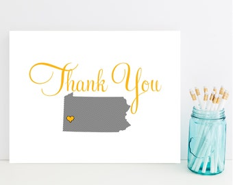 Pennsylvania Thank You Cards - State Stationery, Stationary - Steelers Thank You Card