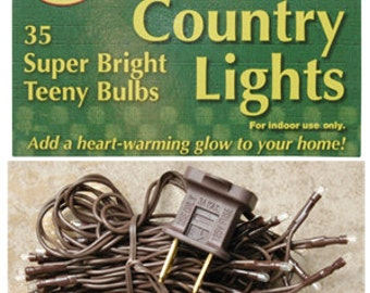 Country Lights 35 Super Bright Teeny Bulbs  Brown Cord Indoor Use