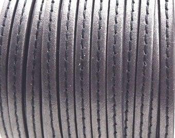 Grey seam flat leather, 5 mm * 20 cm