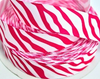 7/8 inch Hot Pink Zebra on White - Animal Print - Printed Grosgrain Ribbon for Hair Bow
