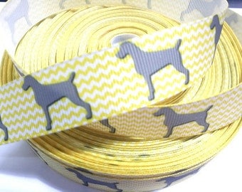7/8 inch PUPPY DOG On Yellow White Chevron - ADOPT Me - Printed Grosgrain Ribbon for Hair Bow