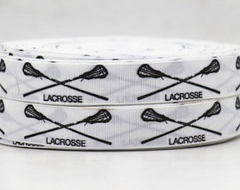 7/8 inch New Lacrosse Black on White SPORTS Printed Grosgrain Ribbon for Hair Bow