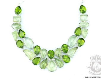 Green As it Gets!! PREHNITE PERIDOT 925 Solid Sterling Silver Necklace N347