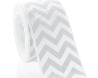 "1.5"" Grey Chevron ZigZag Grosgrain Ribbon - 5yds"