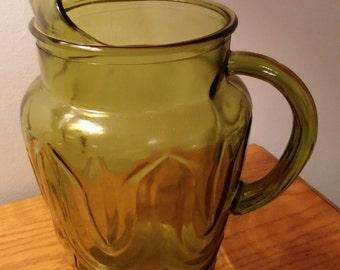 Green Glass Pitcher