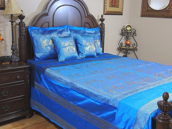 Indian Style Bedding Elephant Pair Coverlet Bedspread By