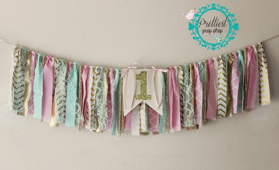 Birthday Banner - Highchair Banner - Garland - Highchair Garland - Rag Tie Garland - Scrappy Fabric Banner - Cake Smash - Pink Mint and Gold