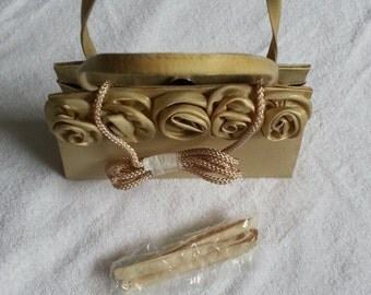 ON SALE 50 Clutches and bags  gold satin fabric formal bag