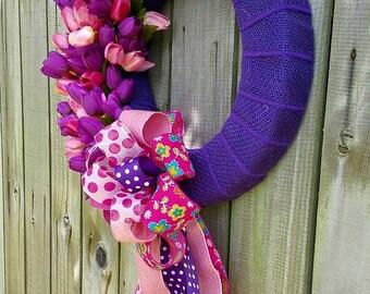 Purple Wreath - Summer Wreath - Front Door Wreath - Door Wreath