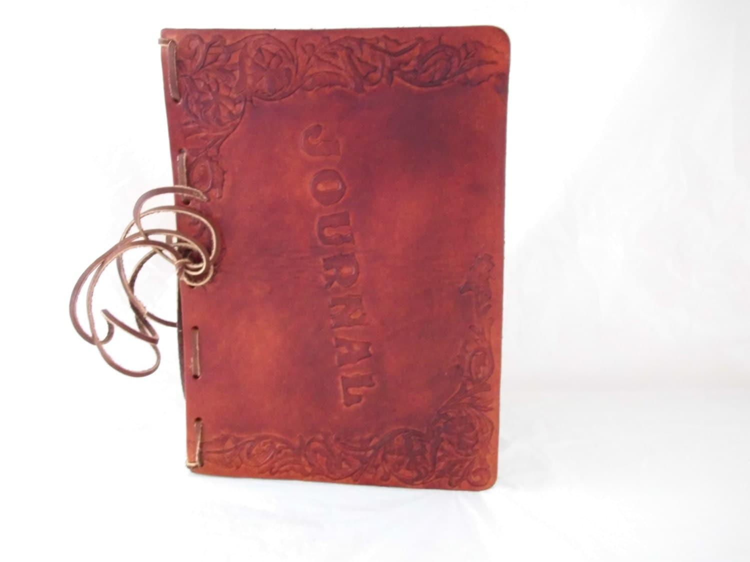 Hand Tooled Leather Journal With Cattle Scene Made In Montana