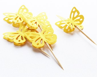 12 3D Butterfly Cupcake Toppers - Sunshine Yellow - 1.6in - Birthday, Bridal Shower, Baby Shower
