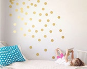 Peel and Stick Metallic Gold Polka Dot Wall Decals | baby room decal | Long Life | Apartment Safe