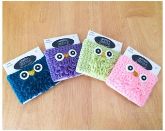 Blue Crochet Owl Coffee Sleeve Cozy