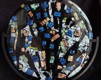 """Fused Glass Panel 12"""" Round """"Cathedral"""" with Black Metal Stand"""