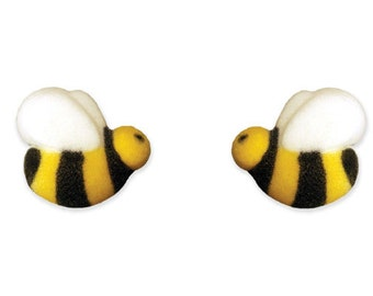 12 Edible Sugar Bees Cupcake Sugar Decorations