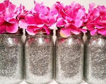 Glitter Mason Jars Wedding Centerpiece Silver And Gold Decor Birthday Party
