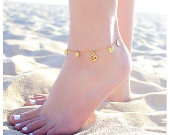 Disk Boho Summer Anklet